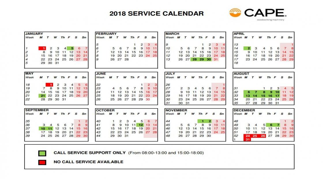 Cape – Calendario 2018