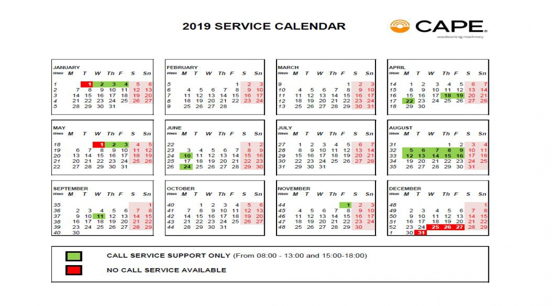 Cape – 2019 Calendar